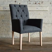 Chesterfield dining chair / wooden / wool / with armrests