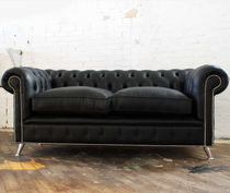 Chesterfield sofa / leather / steel / 2-seater