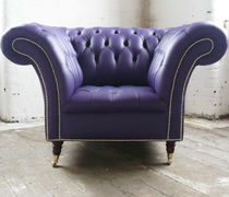 Chesterfield armchair / leather / on casters / violet