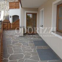 Porphyry stone slab / matte / for floors / brown