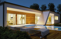 Prefab house / contemporary / wooden frame / wooden