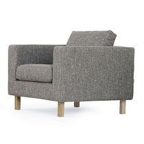 Contemporary armchair / fabric / with removable cover