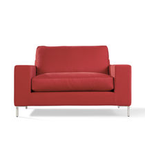 Contemporary armchair / fabric / with removable cover / red