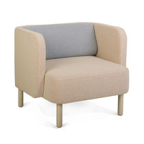 Contemporary armchair / fabric / high-back / with headrest