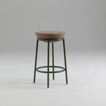 Contemporary bar stool / metal / fabric / brown