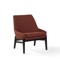 Contemporary armchair / oak / metal / fabric