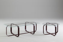 Contemporary coffee table / glass / metal / round