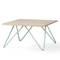 Contemporary table / metal / oak / square
