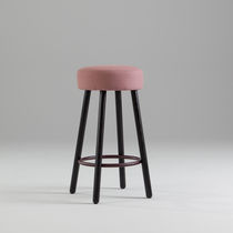 Contemporary bar stool / ash / fabric / commercial