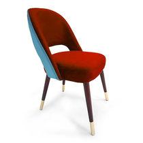 Contemporary chair / custom / velvet / solid wood