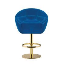 Contemporary bar chair / velvet / brass / upholstered