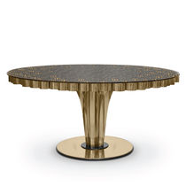 Contemporary dining table / glass / polished stainless steel / round