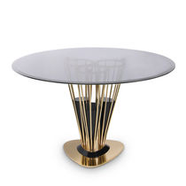 Contemporary dining table / smoked glass / polished brass / round