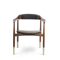 Contemporary dining chair / upholstered / with armrests / fabric