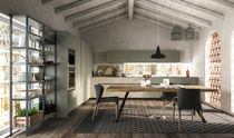 Contemporary kitchen / wood veneer / wooden / island