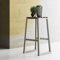 Contemporary bar stool / oak / nylon / black