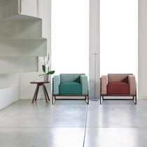 Contemporary armchair / metal / fabric