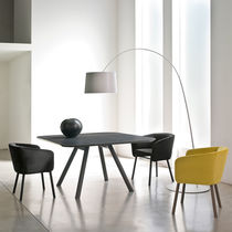 Contemporary chair / fabric / beech / with armrests