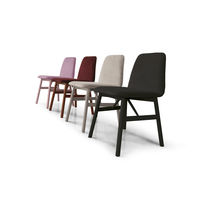 Contemporary chair / velvet / beech / leather