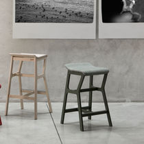 Contemporary bar stool / beech / fabric / synthetic leather