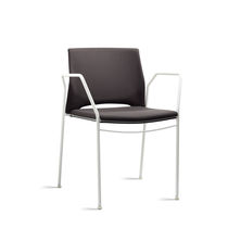Contemporary visitor chair / metal / fabric / with armrests