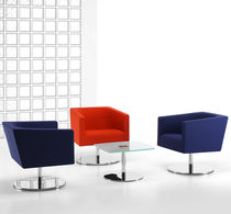 Visitor armchair / contemporary / swivel / with armrests