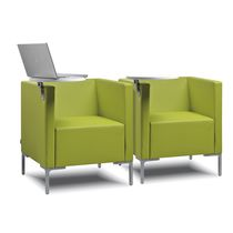 Visitor armchair / contemporary / with armrests / tablet