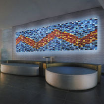 Murano glass decorative panel / wall-mounted / backlit / mosaic look