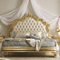 Double bed / traditional / with upholstered headboard / lacquered wood