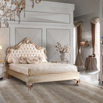 Double bed / classic / with upholstered headboard / lacquered wood