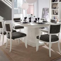 Traditional dining table / lacquered wood / rectangular / white