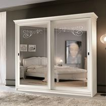 Traditional wardrobe / lacquered wood / sliding door / mirrored