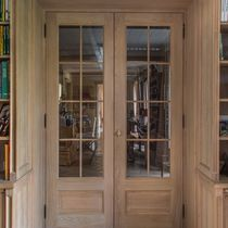 Entry door / swing / solid wood / semi-glazed