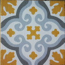 Outdoor encaustic cement tile / floor / floral / matte