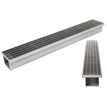 Road drainage channel / stainless steel / with grating / custom