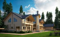 Prefab house / traditional / glue-laminated wood / two-story
