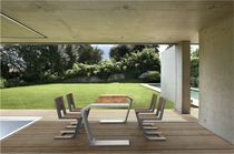 Contemporary chair / cantilever / wooden / concrete