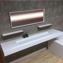 Wall-mounted washbasin / rectangular / Corian® / contemporary