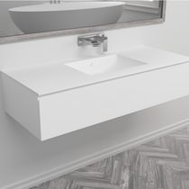 Wall-mounted washbasin cabinet / Corian® / contemporary / with drawers