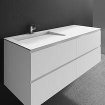 Wall-mounted washbasin cabinet / Corian® / MDF / contemporary