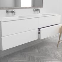 Double washbasin cabinet / wall-mounted / Corian® / MDF