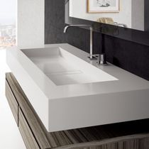 Wall-mounted washbasin / rectangular / quartz / contemporary