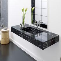 Wall-mounted washbasin / rectangular / marble / contemporary