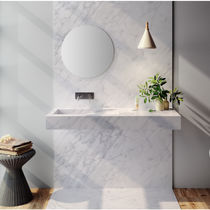 Wall-mounted washbasin / rectangular / Corian® / marble