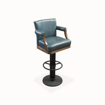 Traditional bar chair / with armrests / swivel / with footrest