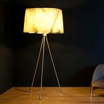 Floor lamp / contemporary / brushed brass / satin