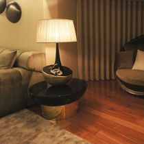 Table lamp / contemporary / lacquered metal / fabric