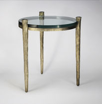 Side table / traditional / glass / iron