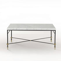 Traditional coffee table / glass / brass / iron