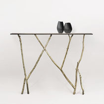 Organic design sideboard table / glass / bronze / leather
